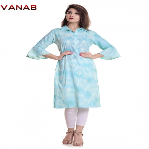 Tie And Dye Straight Kurti - Cotton